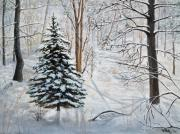 Woods; Shadows; Trees Paintings - Winters Peace by Vicky Path