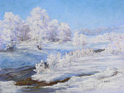 Snow Scene Pastels Posters - Winters Whites Poster by Christine Bass