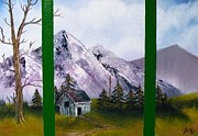 Cabin Window Painting Framed Prints - Winters Window Framed Print by The GYPSY And D Kay