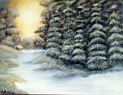Snowscape Paintings - Wintertime by Andrea Binkley