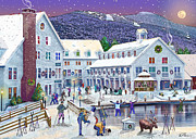 Christmas Card Digital Art Metal Prints - Wintertime at Waterville Valley New Hampshire Metal Print by Nancy Griswold