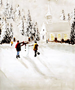 Church On The Hill Prints - Wintertime In Pine Village Print by Chastity Hoff