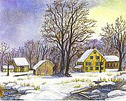 Old Shed Drawings Framed Prints - Wintertime in The Country Framed Print by Carol Wisniewski