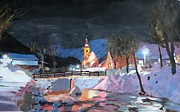 Christmas Eve Painting Posters - Winterwonderland on Christmas Eve in Bavarian Alps Poster by M Bleichner