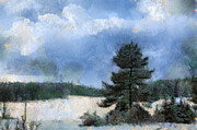 Snow-covered Landscape Digital Art Posters - Wintery Landscape Poster by Regina Koch