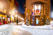Street Lamps Digital Art Posters - Wintery Streets of Old Quebec at Night Poster by Mark E Tisdale