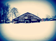 Snowpocalypse Framed Prints - Wintry Barn Framed Print by Alisha Hollander