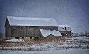Snow Scene Digital Art Framed Prints - Wintry Barn Framed Print by Joan Carroll