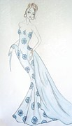 Fashion Illustration Pastels Posters - Wintry Blues Poster by Christine Corretti