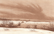Snow Scene Pastels Framed Prints - Wintry Meadow Framed Print by Peter Rashford