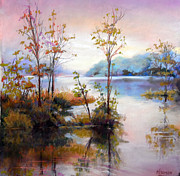 Contemplative Pastels Posters - wiondermere Autumn morning Poster by Heather Harman
