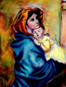 Religious Pastels Framed Prints - WIP Madonnina or Madonna of The Streets Rendition in Pastel Original Oil by Roberto Ferrizzi Framed Print by Antonia Citrino