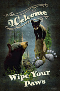Black Bear Posters - Wipe Your Paws Poster by JQ Licensing