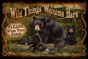 Black Painting Posters - Wipe Your Paws Poster by JQ Licensing