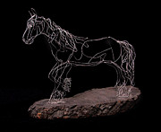 Farm Sculpture Metal Prints - Wire Horse Metal Print by Samantha Stutzman