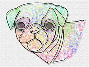 Watchdog Prints - Wire Pug Print by Ricardo  De Almeida