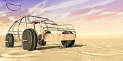 Wire Toy Car In The Desert Perspective Print by Allan Swart