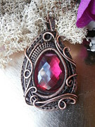 Deep Jewelry Originals - Wire Wrapped Crystal Quartz Gemstone in Solid Copper Wires by Izzy Gumbo