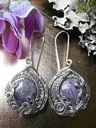 Wire-wrapped Jewelry Originals - Wire Wrapped Earrings Purple Charoite Gemstone Beads Handmade Wire Weaved Jewelry by Izzy Gumbo