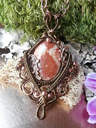 Wire-wrapped Jewelry Originals - Wire Wrapped Pendant Necklace Fossil Coral in Copper Handmade Wire Weaved Jewelry by Izzy Gumbo