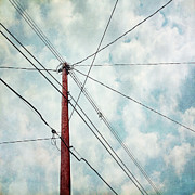 Telephone Wires Framed Prints - Wired Framed Print by Priska Wettstein