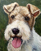 Terrier Art Painting Metal Prints - Wirehaired Fox Terrier on Green Metal Print by Dottie Dracos