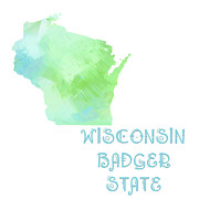 Abstract Map Posters - Wisconsin - Badger State - Map - State Phrase - Geology Poster by Andee Photography
