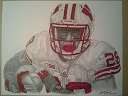 Denver Broncos Drawings Prints - Wisconsin Badgers Montee Ball Print by Jimmy James