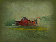 Storage Digital Art Posters - Wisconsin Barn in Spring Poster by Jeff Burgess