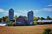 Silos Mixed Media Posters - Wisconsin Farm 5 Poster by Todd and candice Dailey