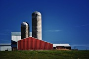 Silos Mixed Media Posters - Wisconsin Farm Poster by Todd and candice Dailey
