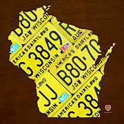 Map Art Mixed Media Prints - Wisconsin License Plate Map by Design Turnpike Print by Design Turnpike