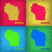World Map Digital Art Metal Prints - Wisconsin Pop Art Map 1 Metal Print by Irina  March