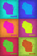 World Map Digital Art Metal Prints - Wisconsin Pop Art Map 2 Metal Print by Irina  March