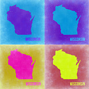 World Map Digital Art Metal Prints - Wisconsin Pop Art Map 3 Metal Print by Irina  March