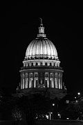 Wisconsin State Capitol Building At Night Black And White Print by Sebastian Musial