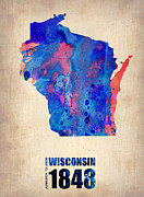 Modern Poster Metal Prints - Wisconsin Watercolor Map Metal Print by Irina  March