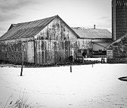 Sheds Framed Prints - Wisconsin Winter Farm  Framed Print by Thomas Young