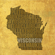 Wisconsin Framed Prints - Wisconsin Word Art State Map on Canvas Framed Print by Design Turnpike