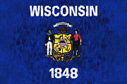 U S Flag Digital Art Posters - Wisconson Flag Poster by World Art Prints And Designs