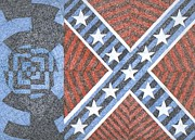 Confederate Flag Drawings Prints - Wisdom Justice Moderation Print by William Burns