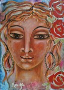 Religious Art Mixed Media Prints - Wisdom  - Sophia Print by Maya Telford