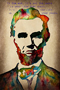 Abraham Lincoln Prints - Wise Abraham Lincoln Quote Print by Georgeta  Blanaru