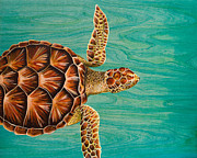 Ocean Turtle Painting Originals - Wise Honu  by Emily Brantley
