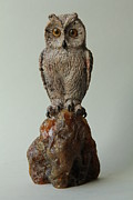 Carving Sculpture Acrylic Prints - Wise Owl Acrylic Print by Nataliia Dychka