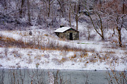 Wintery Digital Art Prints - Wises Mill Springhouse Print by Bill Cannon
