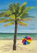 Umbrella Pastels Prints - Wish I Was There Print by Arlene Crafton