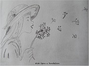 Dandelion Drawings - Wish Upon a Dandelion by Jennifer Schwab