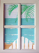 Beach Window Painting Framed Prints - Wish You Were Here Framed Print by Debbie Kiewiet