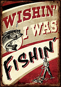 Jq Painting Prints - Wishin I Was Fishin Print by JQ Licensing
